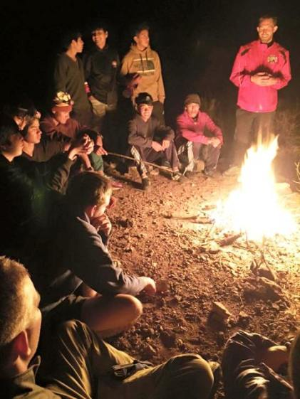 Debrief and Devotional on the first night in the canyon.  Great spirit of comraderie and unity.