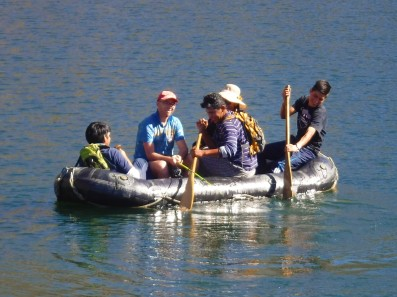 Easter campers enjoy the boat on a high mountain lake